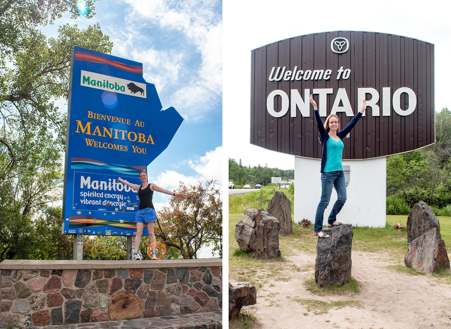 Province signs along the road across Canada