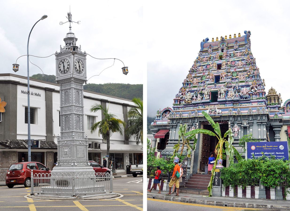 The Victoria Clocktower and Hindu Temple in Mahé