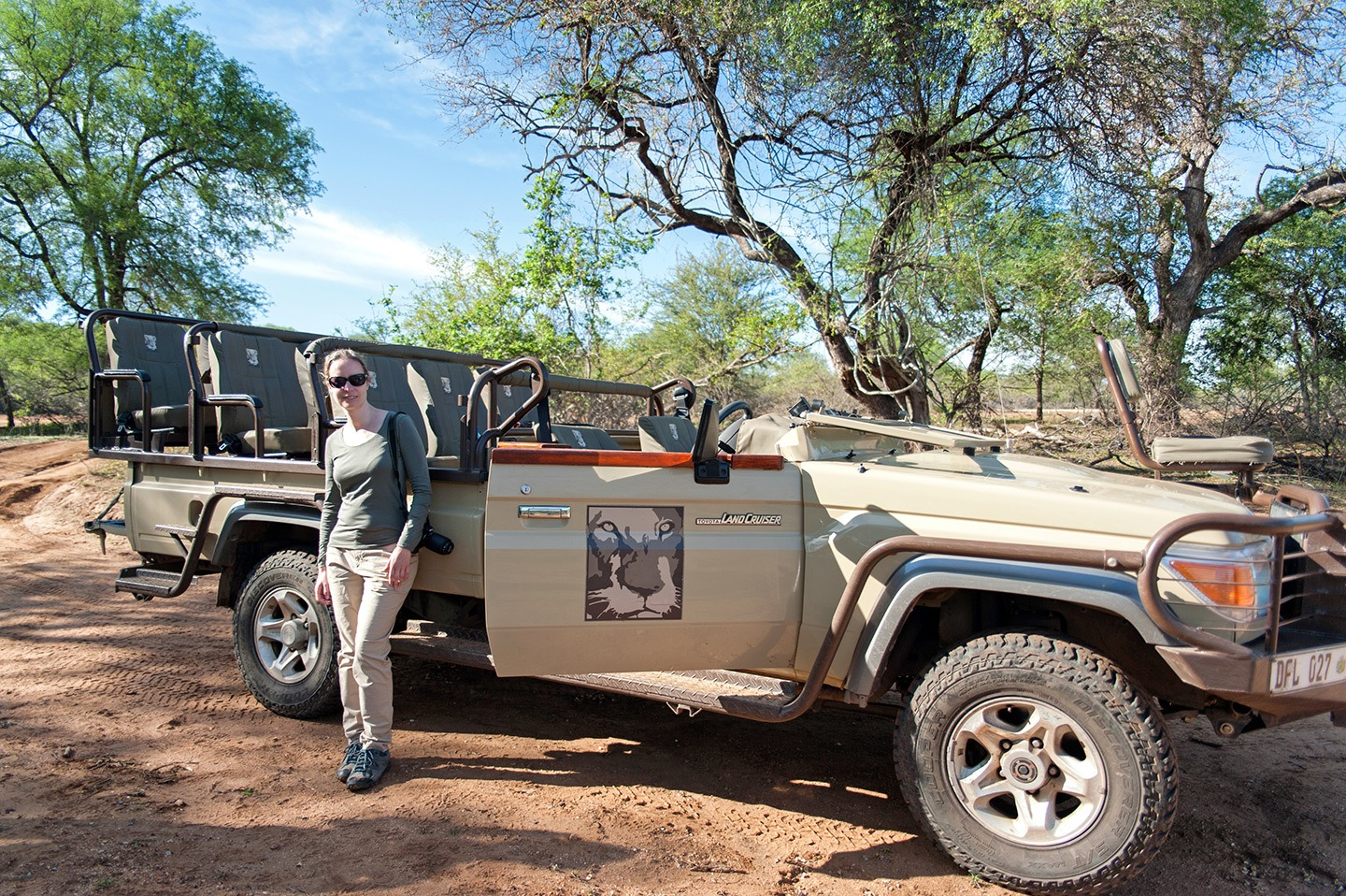 On safari in South Africa – a jeep in the bush