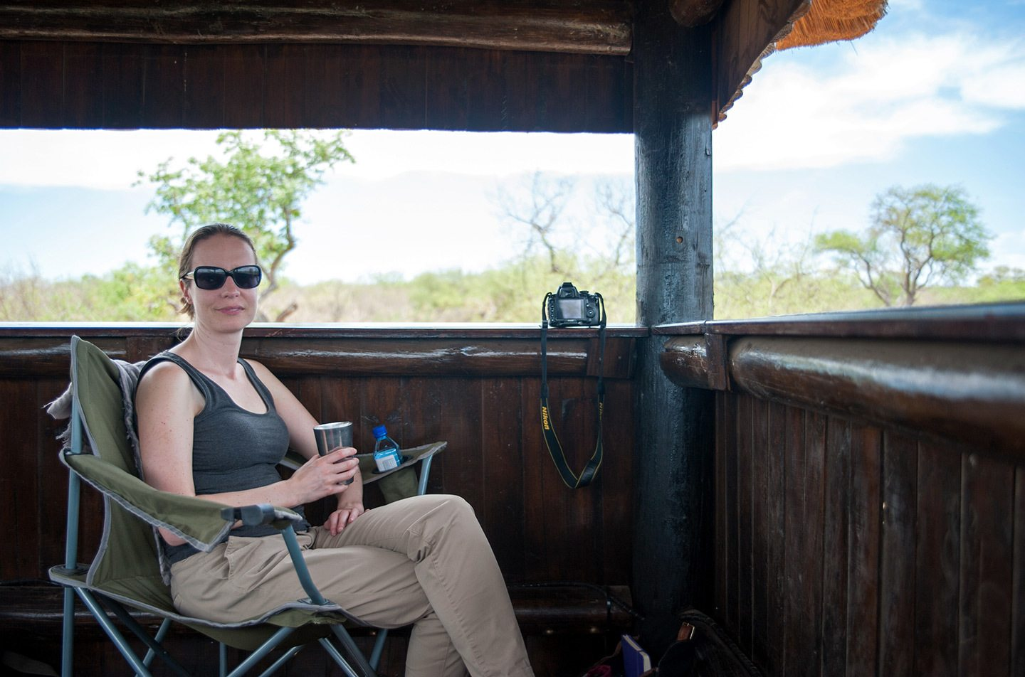 Wildlife watching in a hide in South Africa