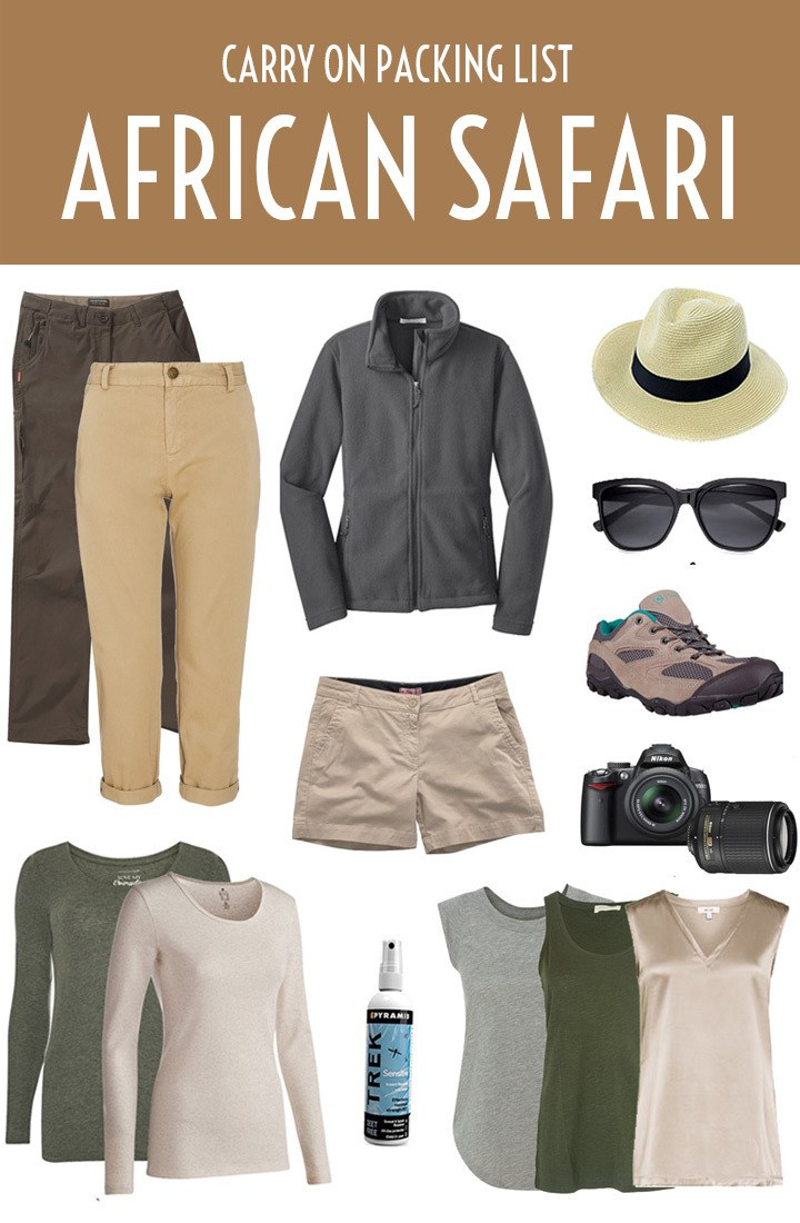 An African safari packing list – what to pack for an African safari, from clothing and footwear to toiletries and accessories. #safari #Africa #packing #packinglist #carryon