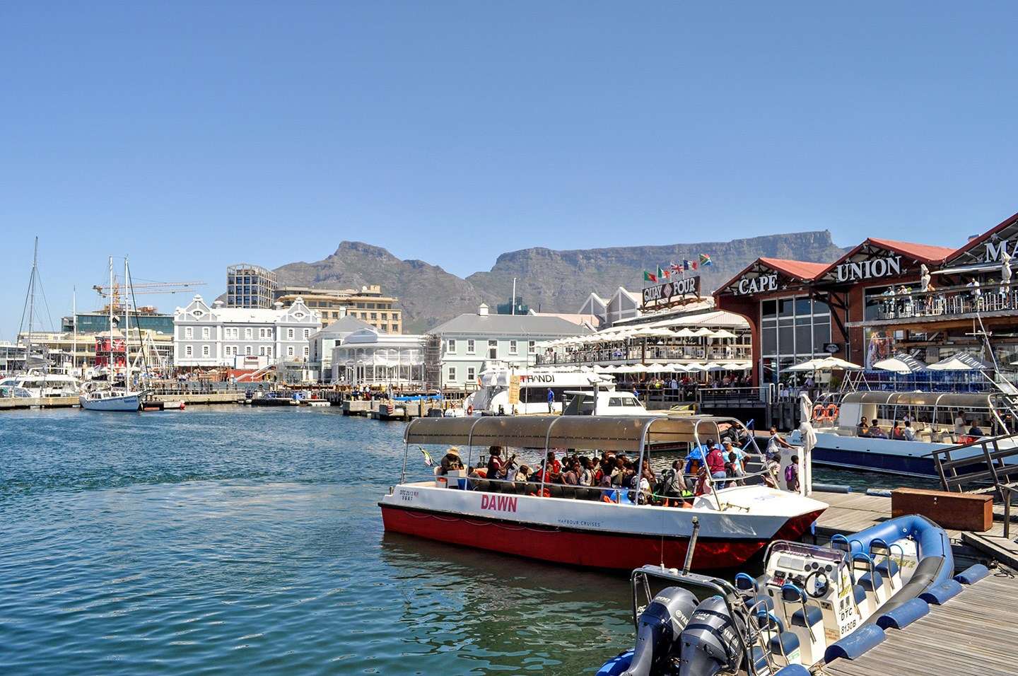 Boats in the harbour at the V&A Waterfront in Cape Town