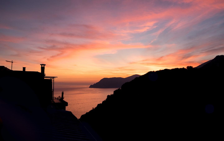 Cinque Terre sunset in Corniglia