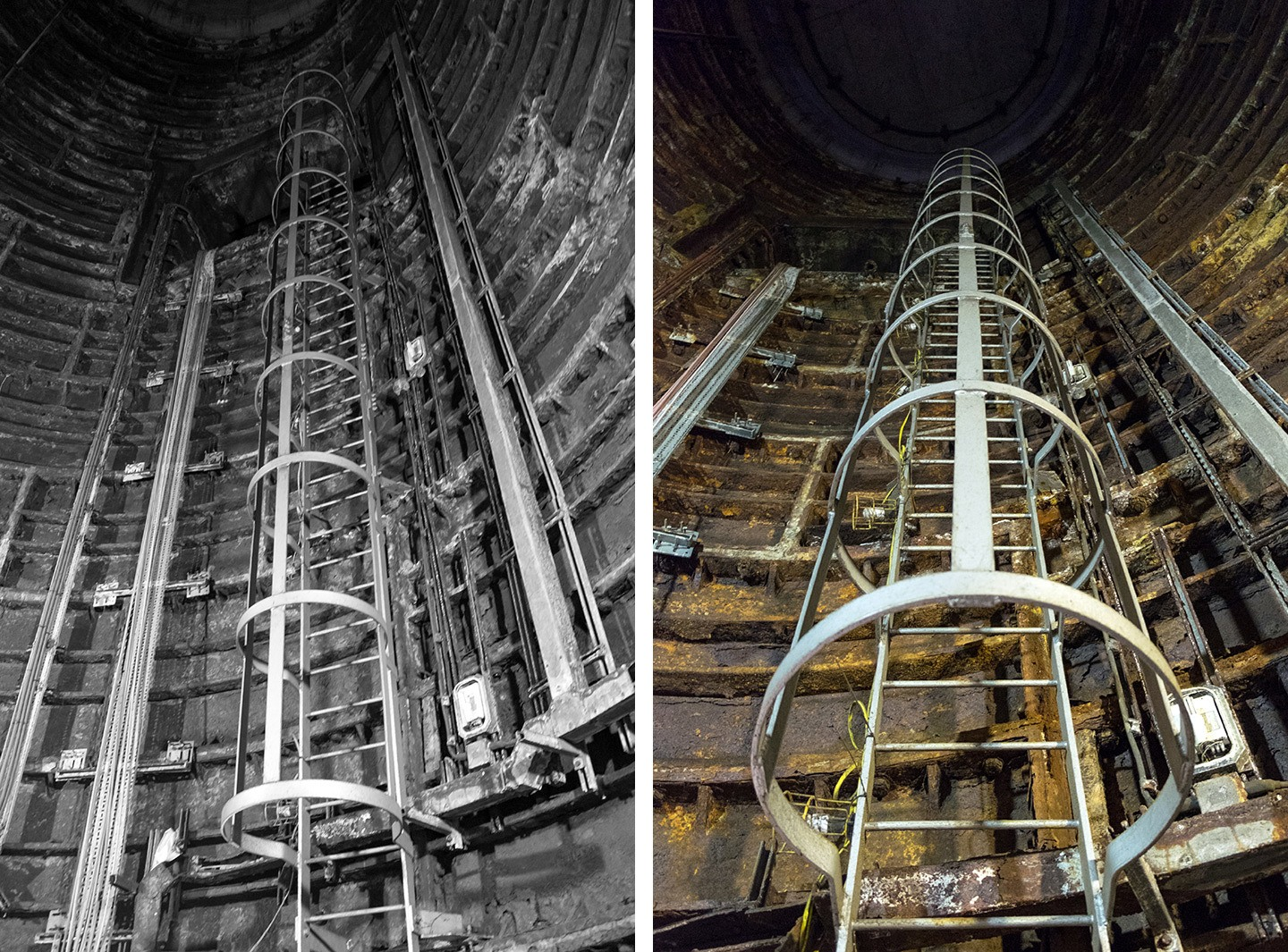 Lift shaft in Euston's secret tunnels, London
