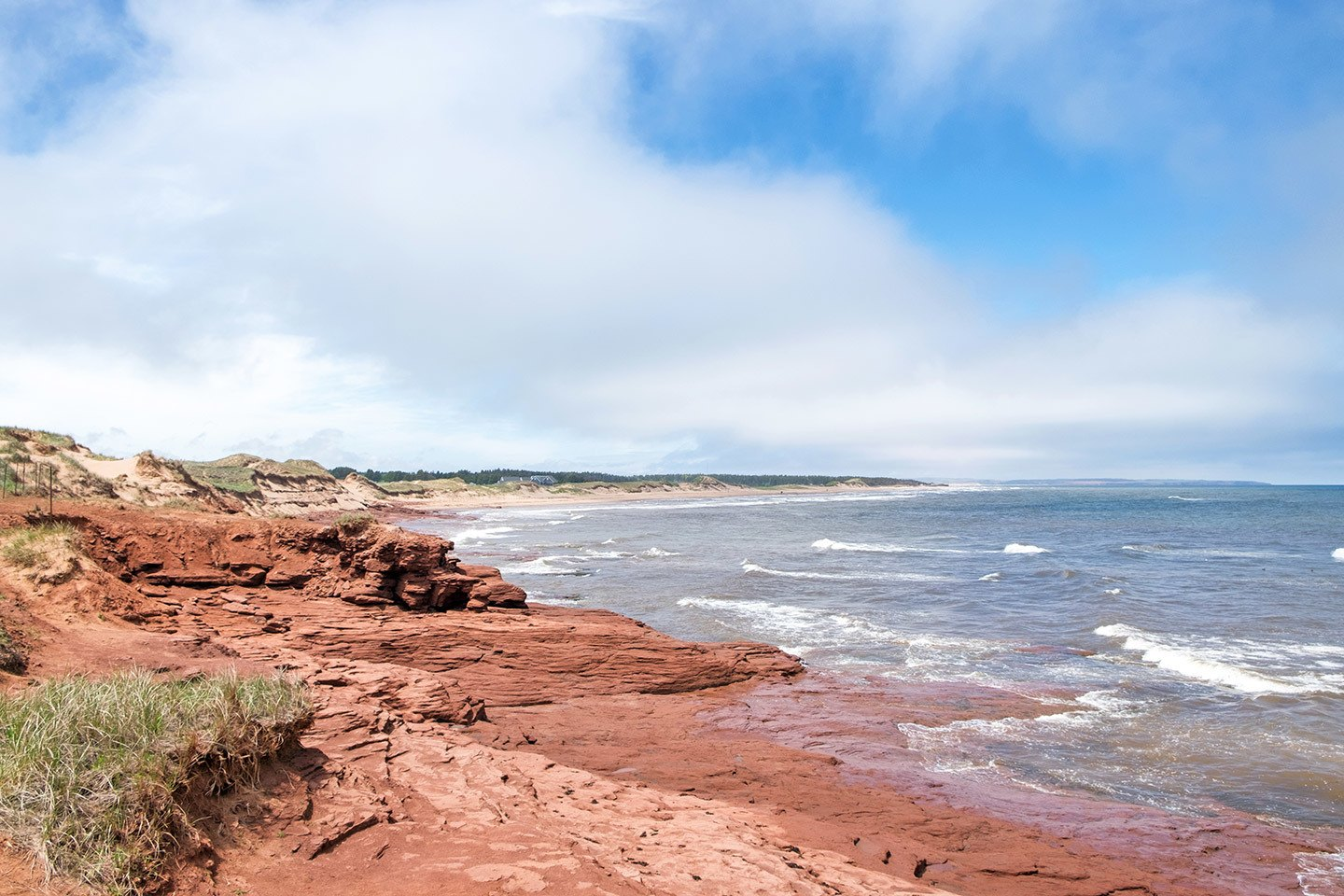 Red sandstone beaches in Prince Edward Island, Canada