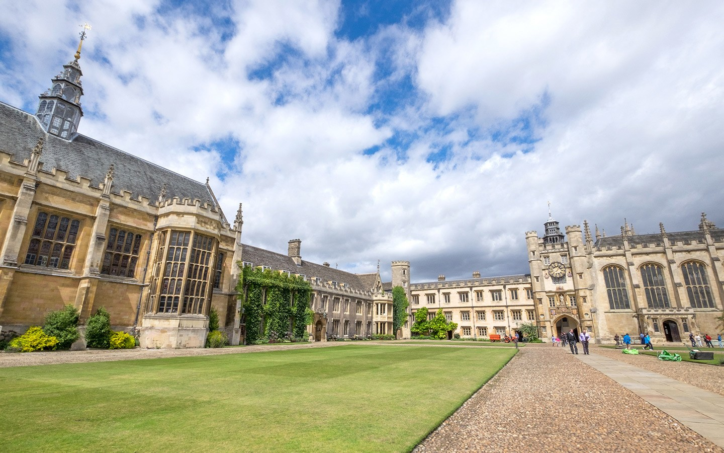 Inside the quads of Trinity College, Cambridge University