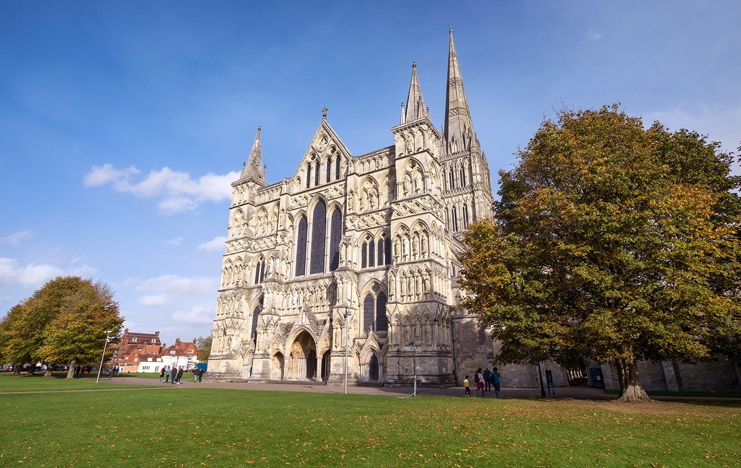 Salisbury cathedral on a trip to the historic sites of England by train