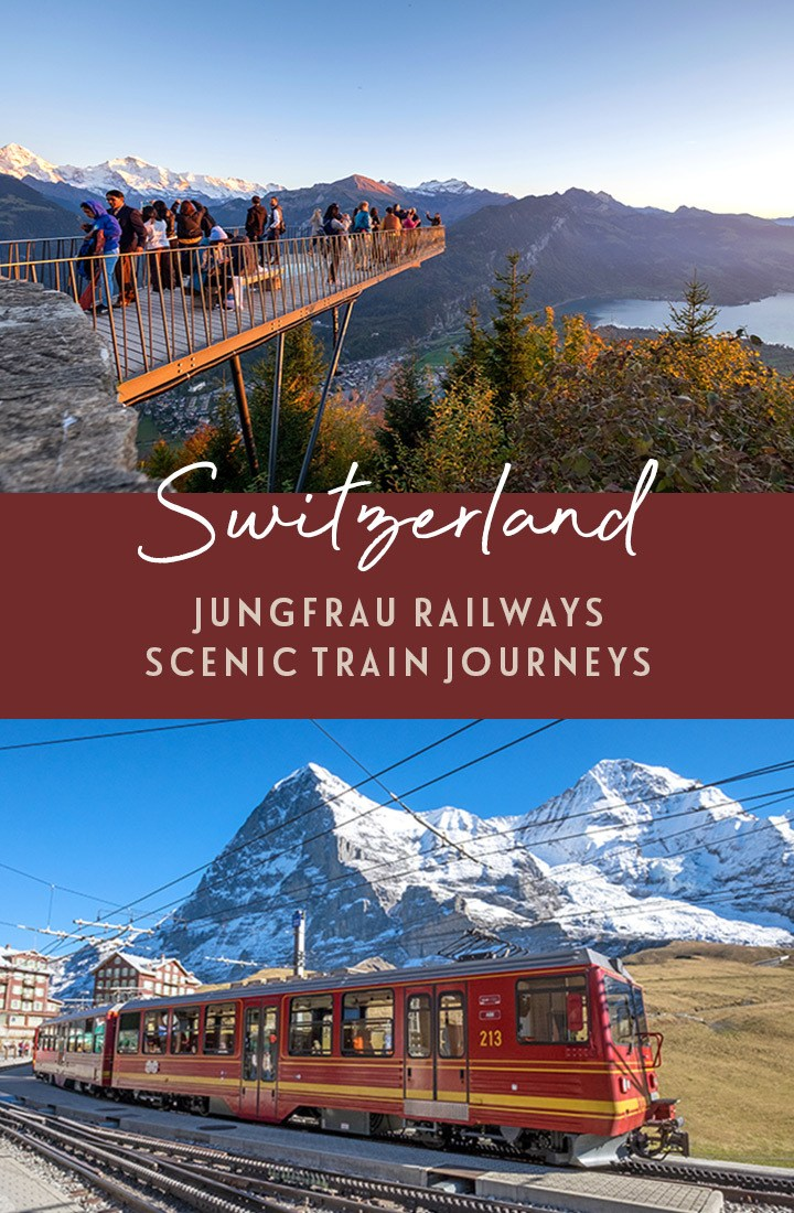 Jungfrau Railways: Switzerland's scenic mountain trains, exploring the Swiss Alps by train, including including the Jungfraujoch, Harder Kulm, Schynige Platte and Grindelwald First #Switzerland #train #railtravel #Jungfrau
