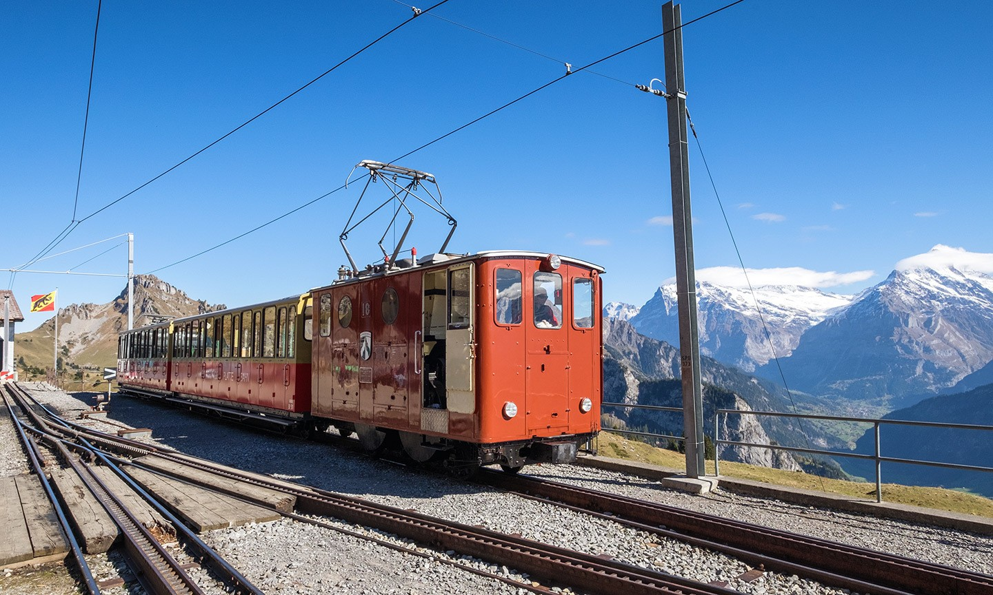 Train at Schynige Platte, Jungfrau, Switzerland