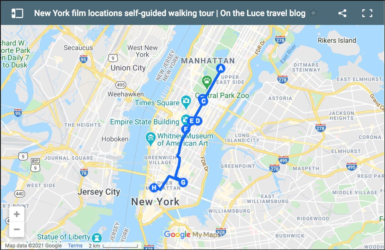 New York film locations: Manhattan walking tour map