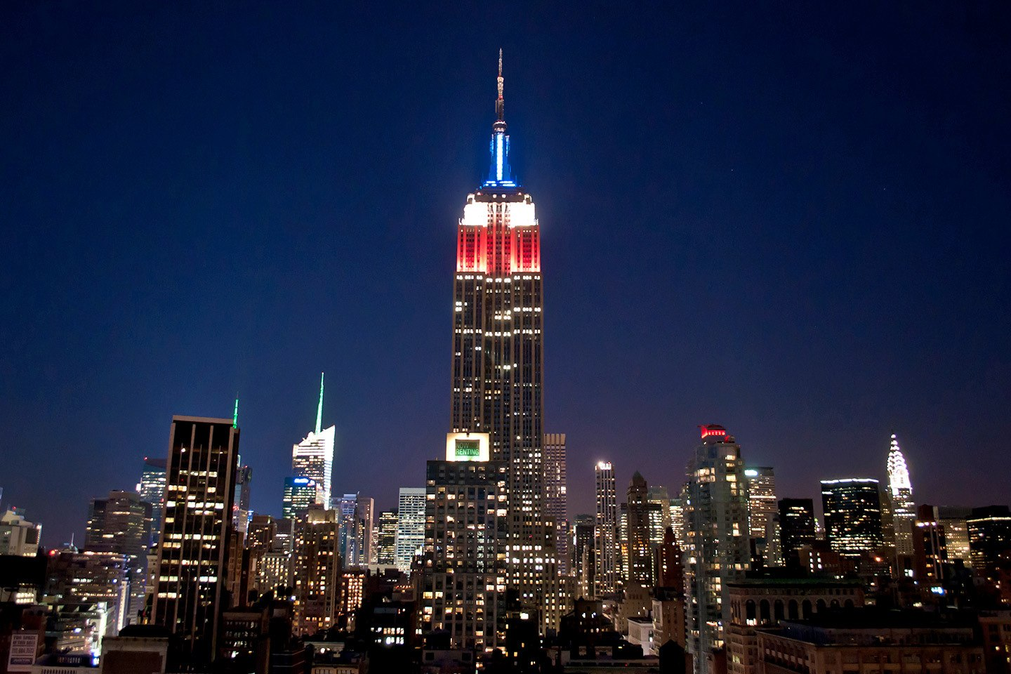 The Empire State Building at night in New York