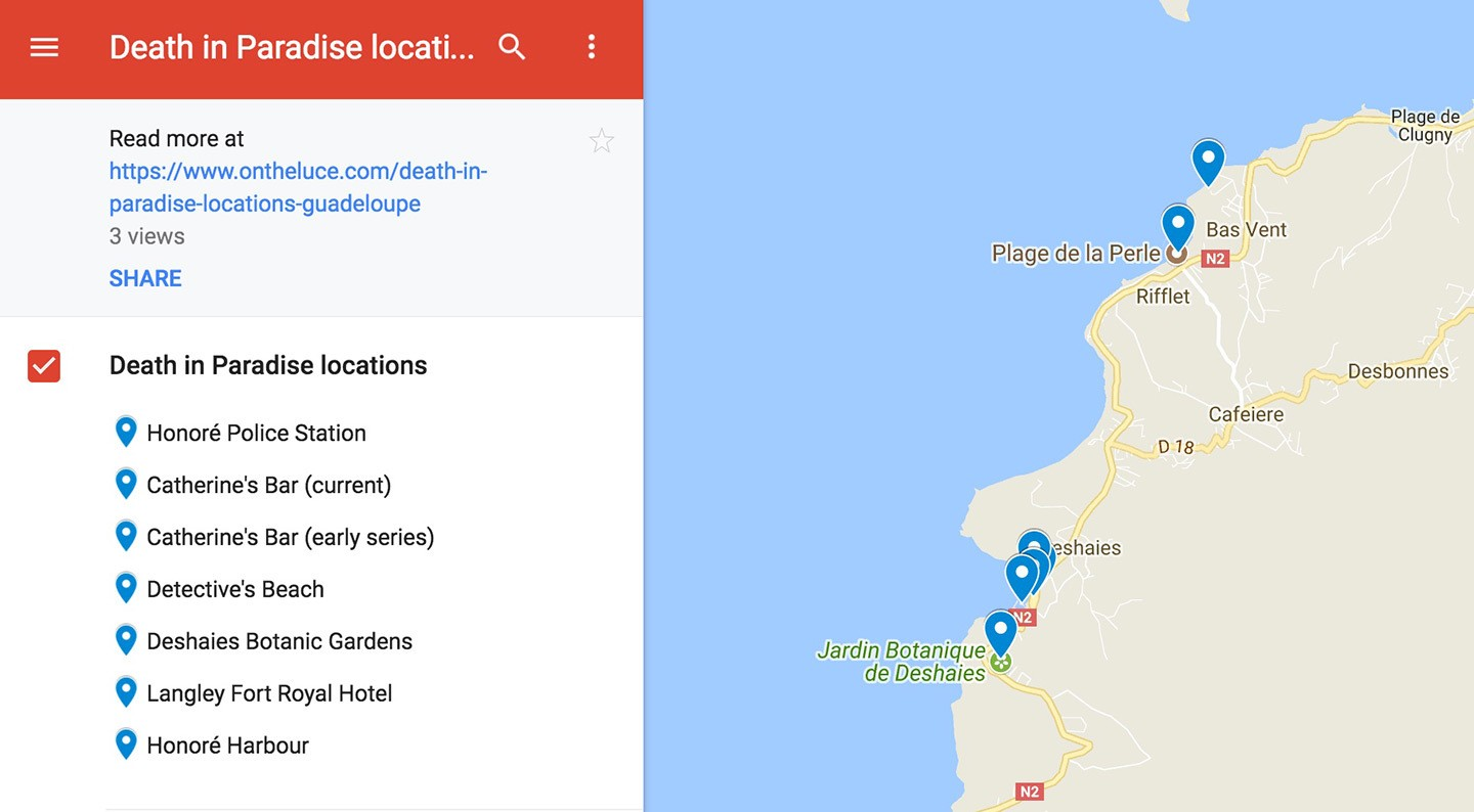 Death in Paradise location map