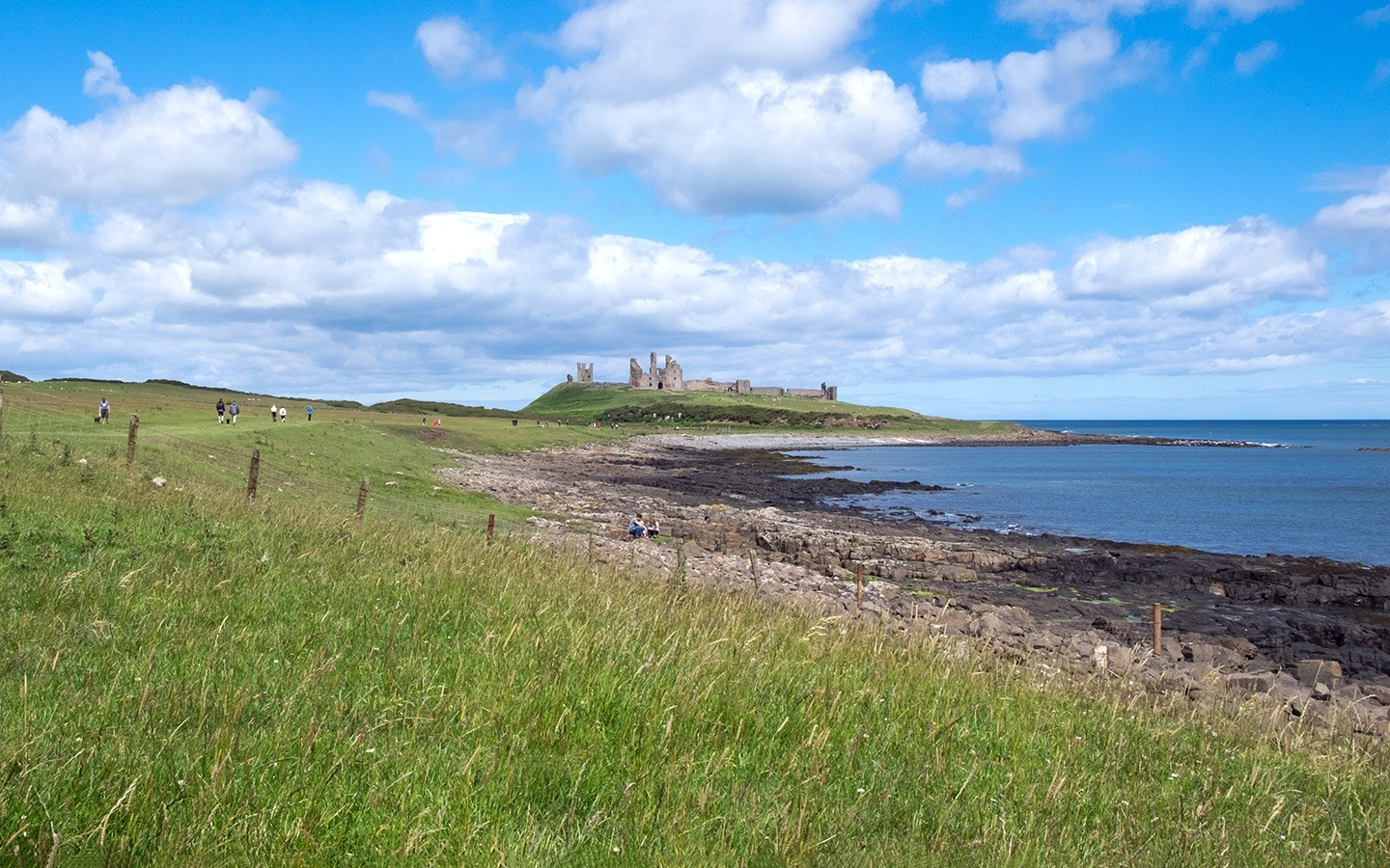 Dunstanburgh Castle in Alnwick, Northumberland, England