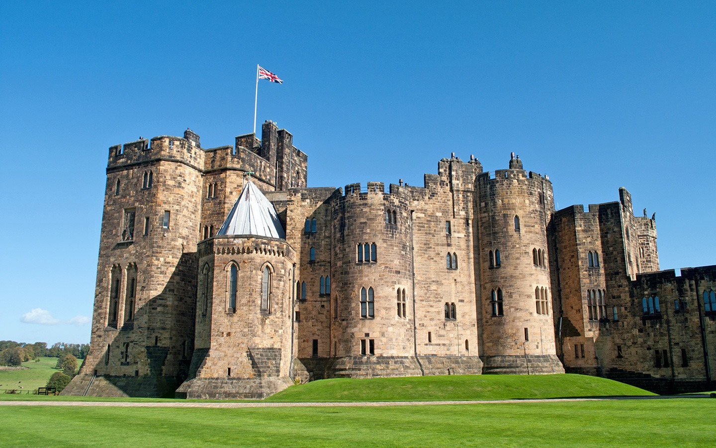 Alnwick Castle in Northumberland, England, a Harry Potter filming location
