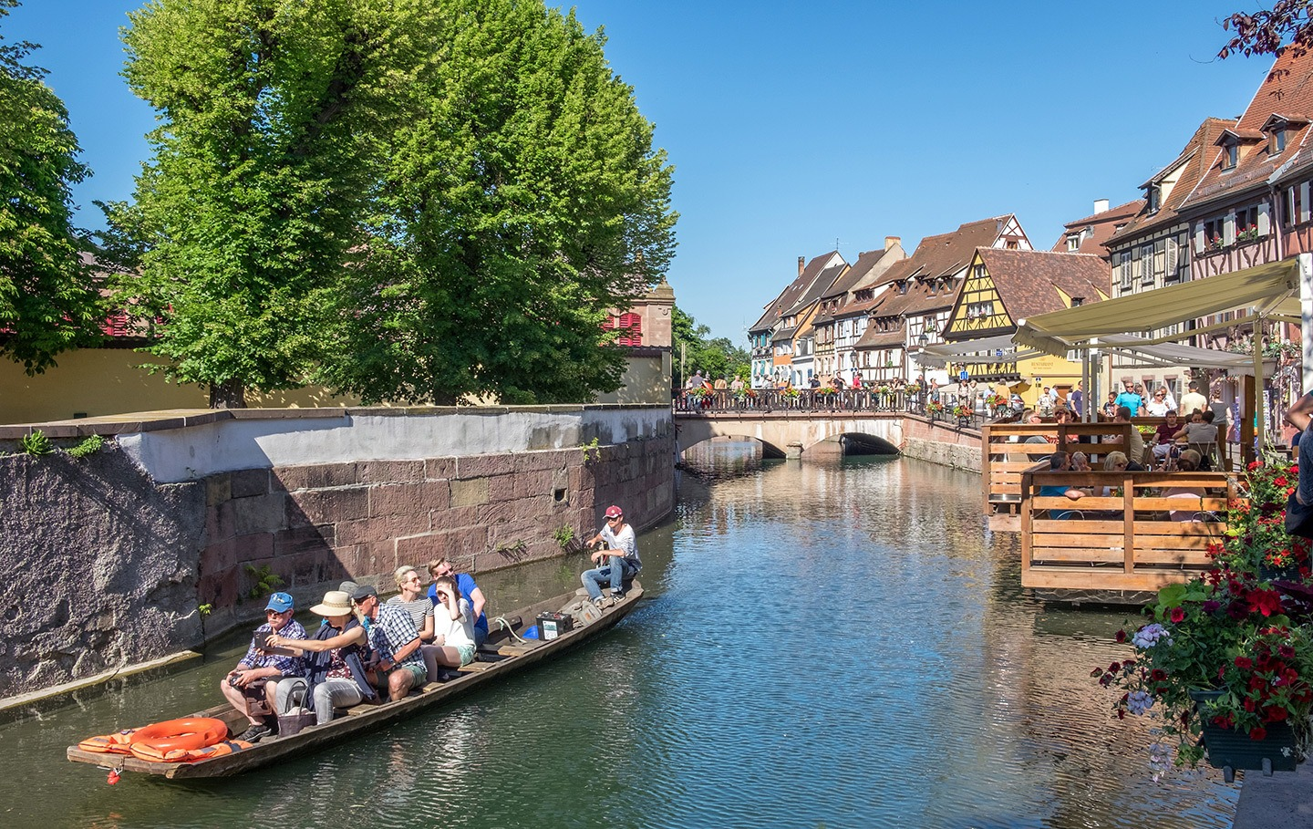 Exploring the canals in Colmar Alsace's Petit Venice, France