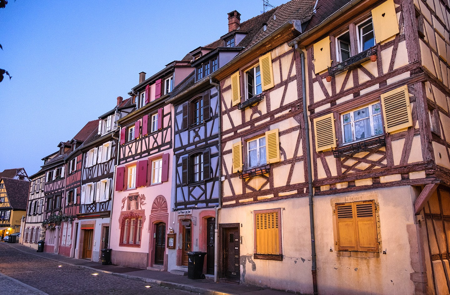 The blue hour at sunset in Colmar, Alsace, France