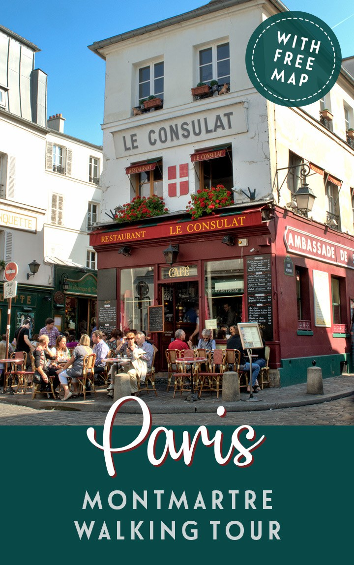 A self-guided walking tour around Montmartre Paris, exploring the art and history of this bohemian, artistic neighbourhood including Sacré-Cœur Basilica, the Place du Tetre and the Bateau-Lavoir artists studio – with map included. #Paris #Montmartre #walk