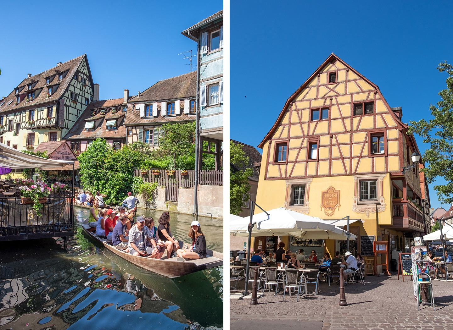 Canals and cafés in Colmar, Alsace