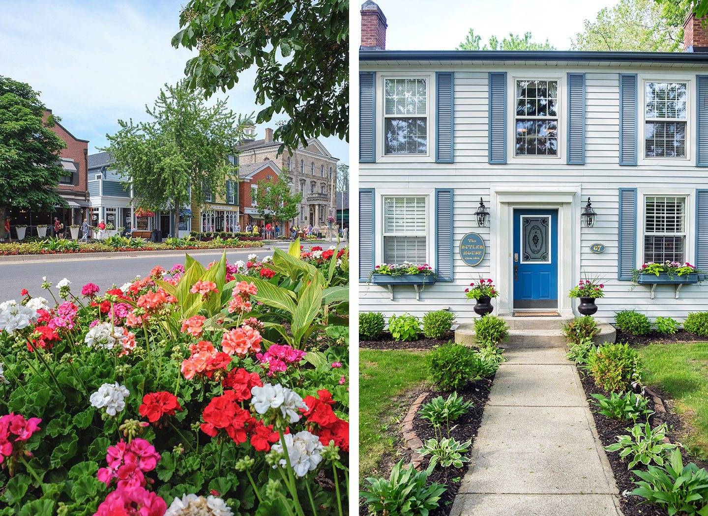 Colourful flowers and historic houses in Niagara on the Lake
