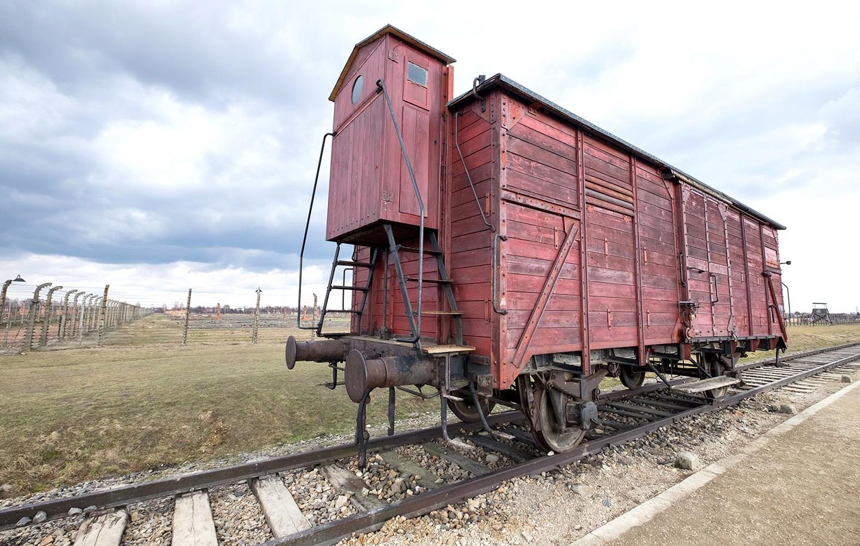 Railway line at Auschwitz-Birkenau, Poland