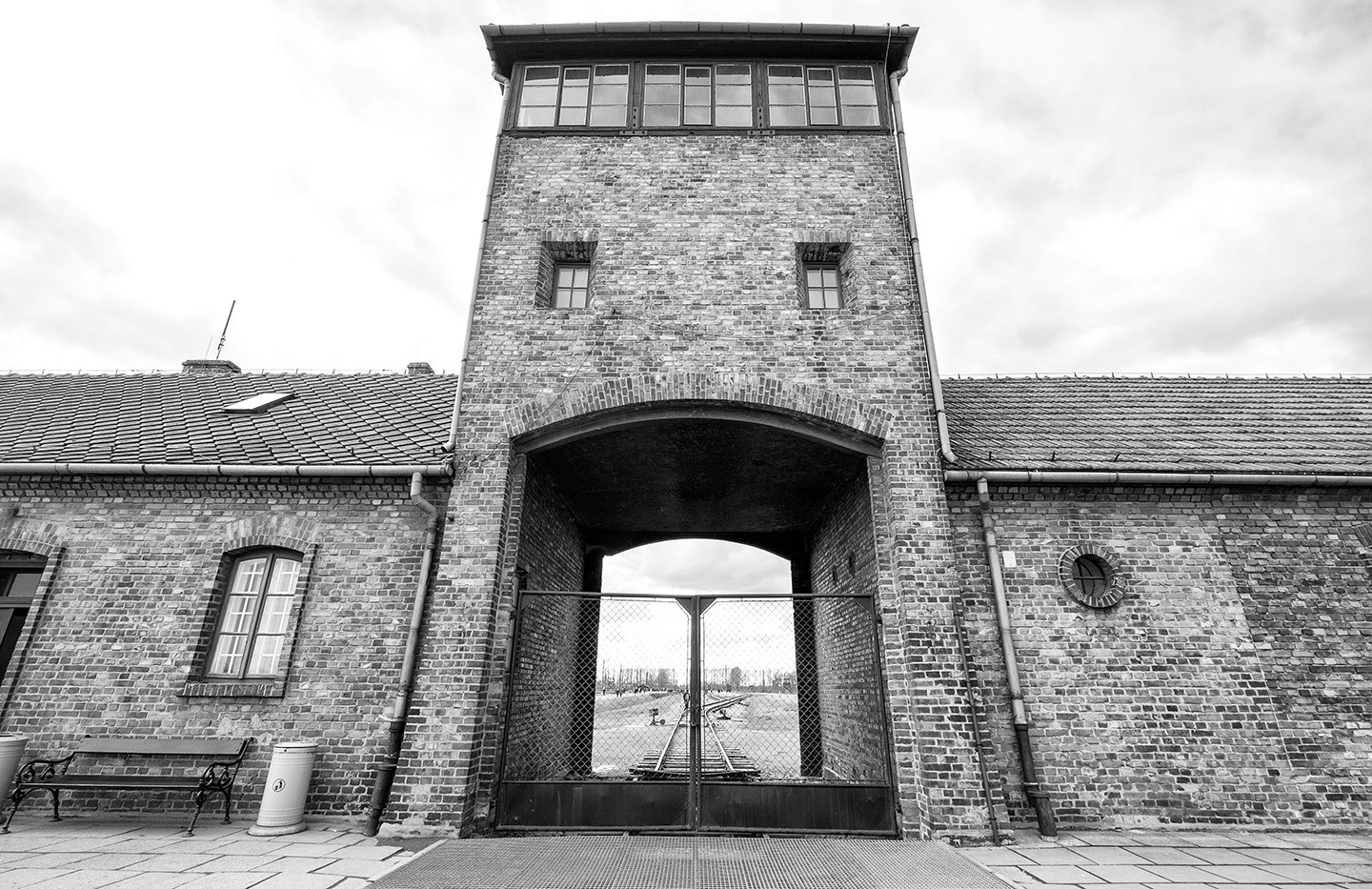 Entrance to Birkenau at Auschwitz-Birkenau, Poland