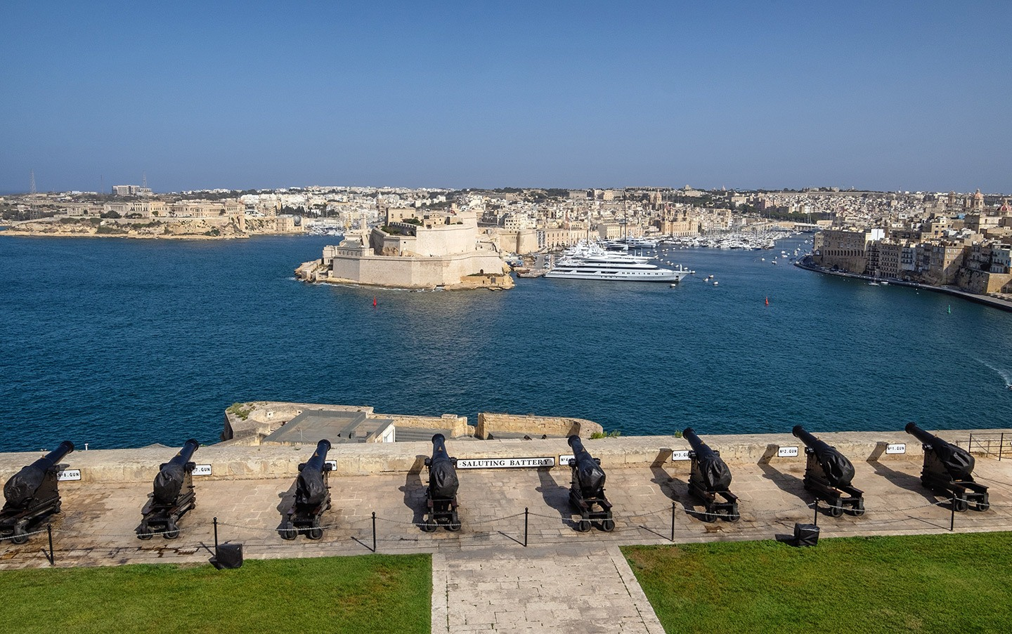 The Saluting Battery in the Upper Barrakka Gardens, Valletta, Malta