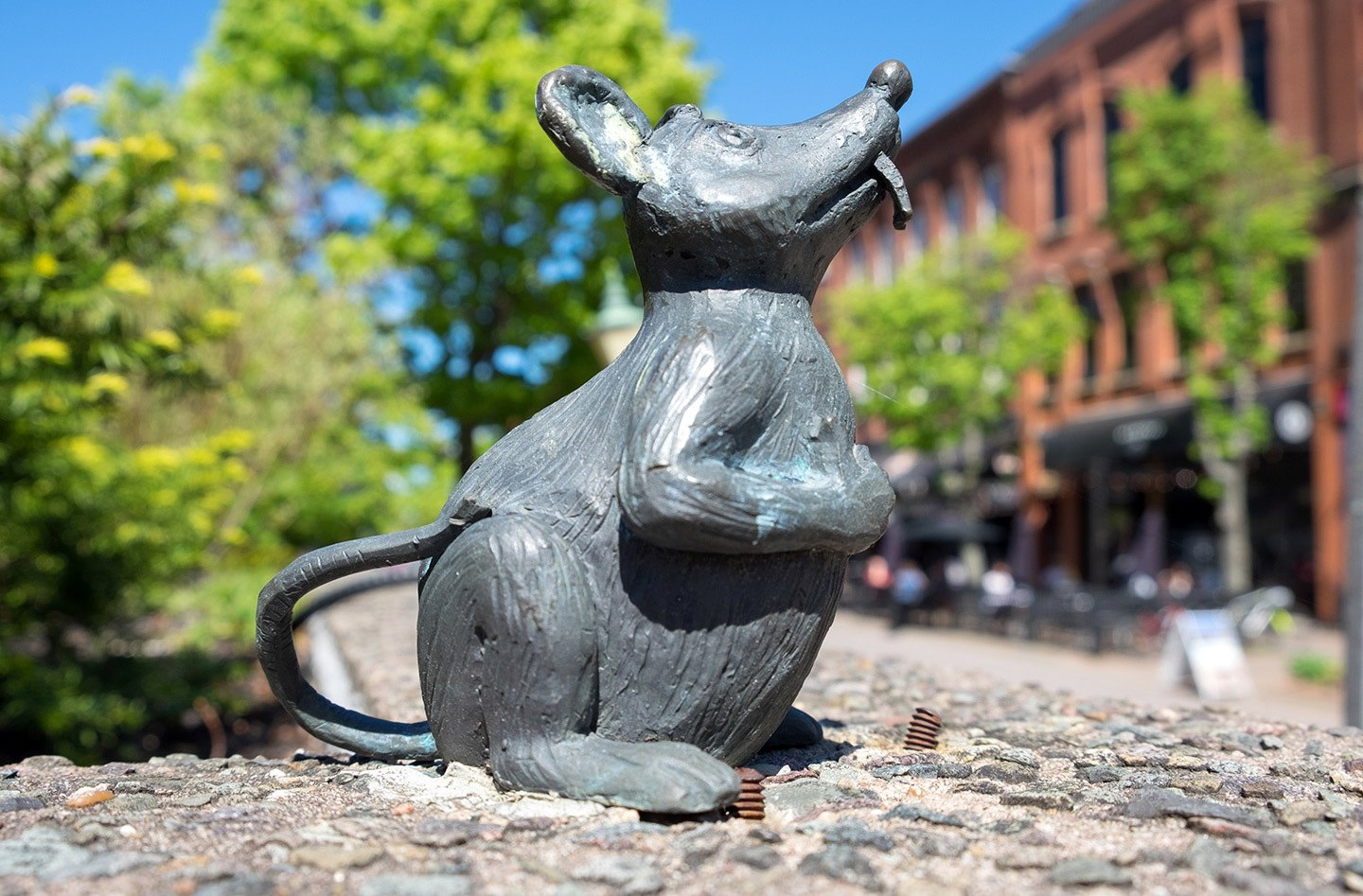 Bronze mouse statue in Charlottetown, Prince Edward Island