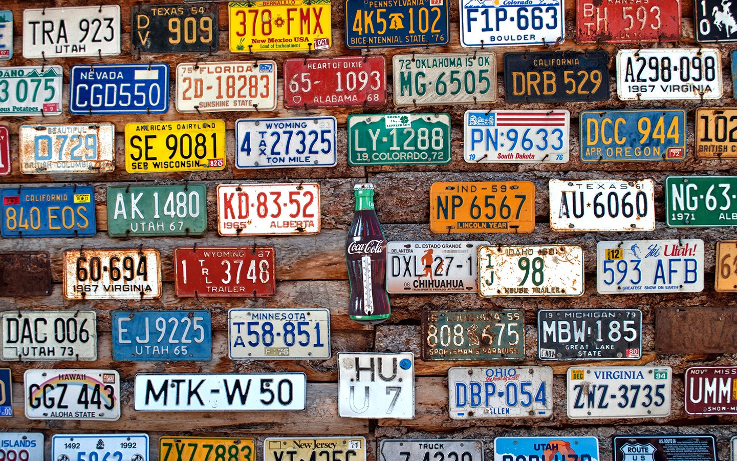 A wall of number plates on Route 66 in the southwest USA