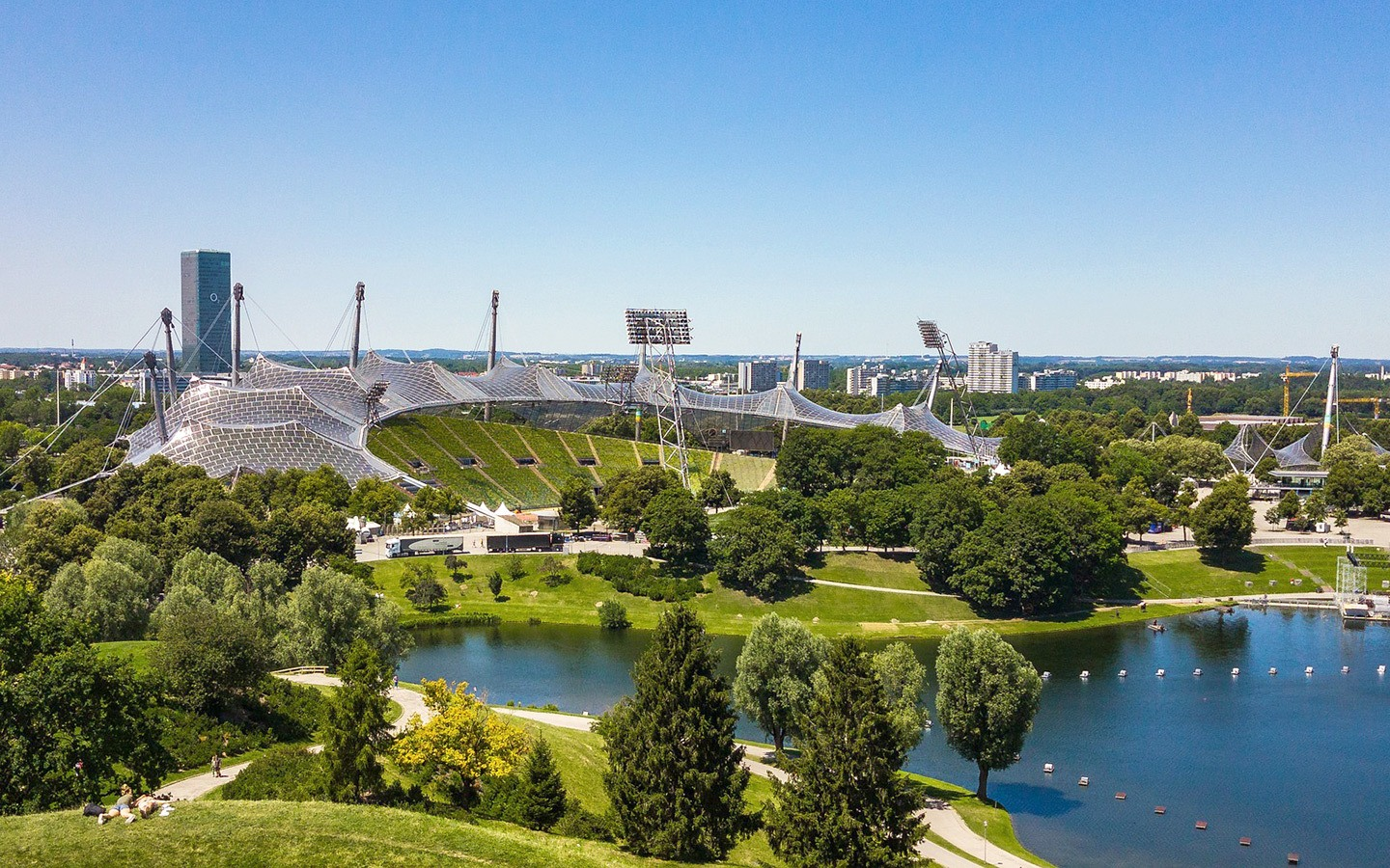 Munich Olympiapark, built for the 1972 summer Olympic Games