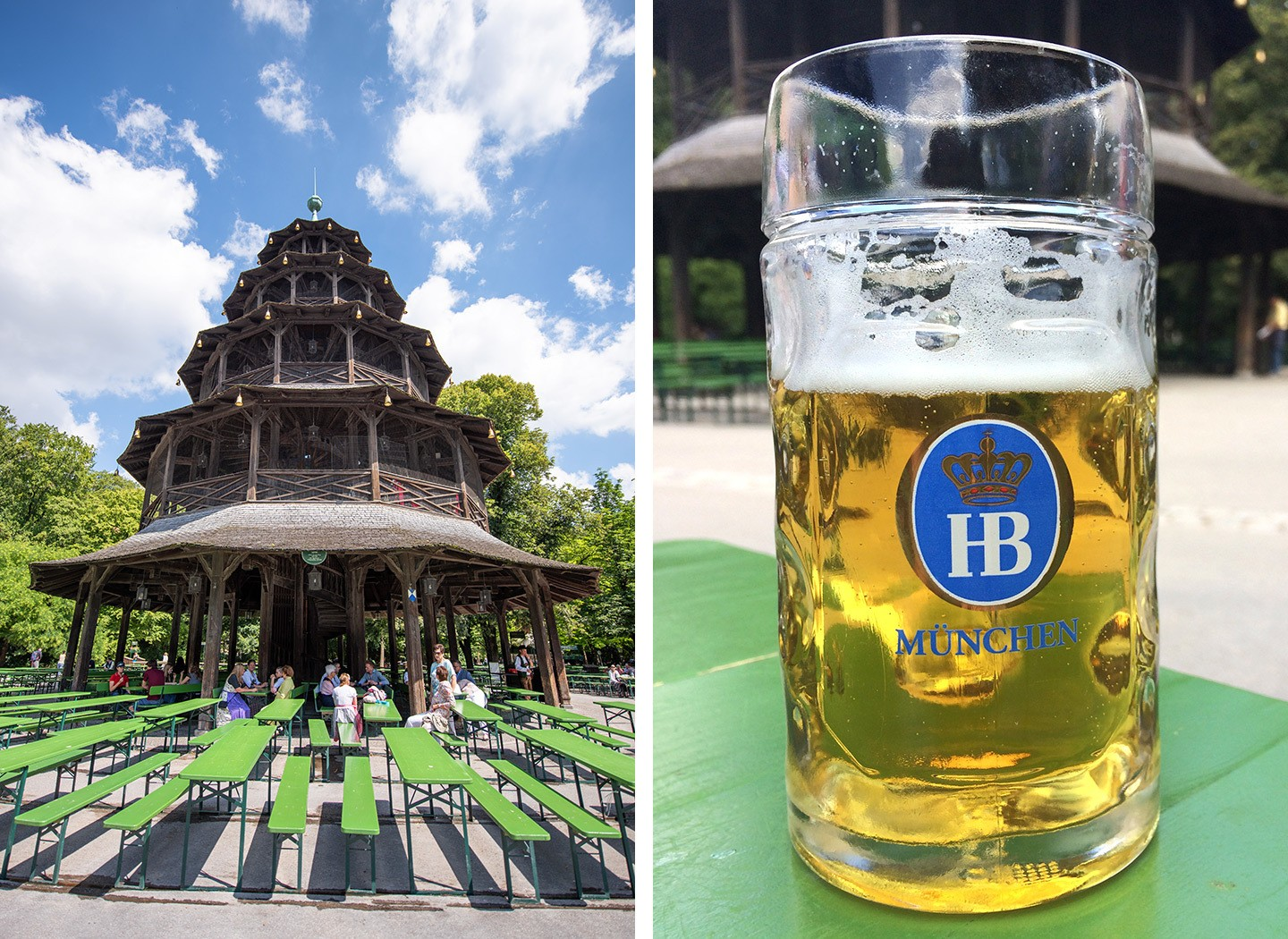 The Chinesischer Turm beer garden in Munich