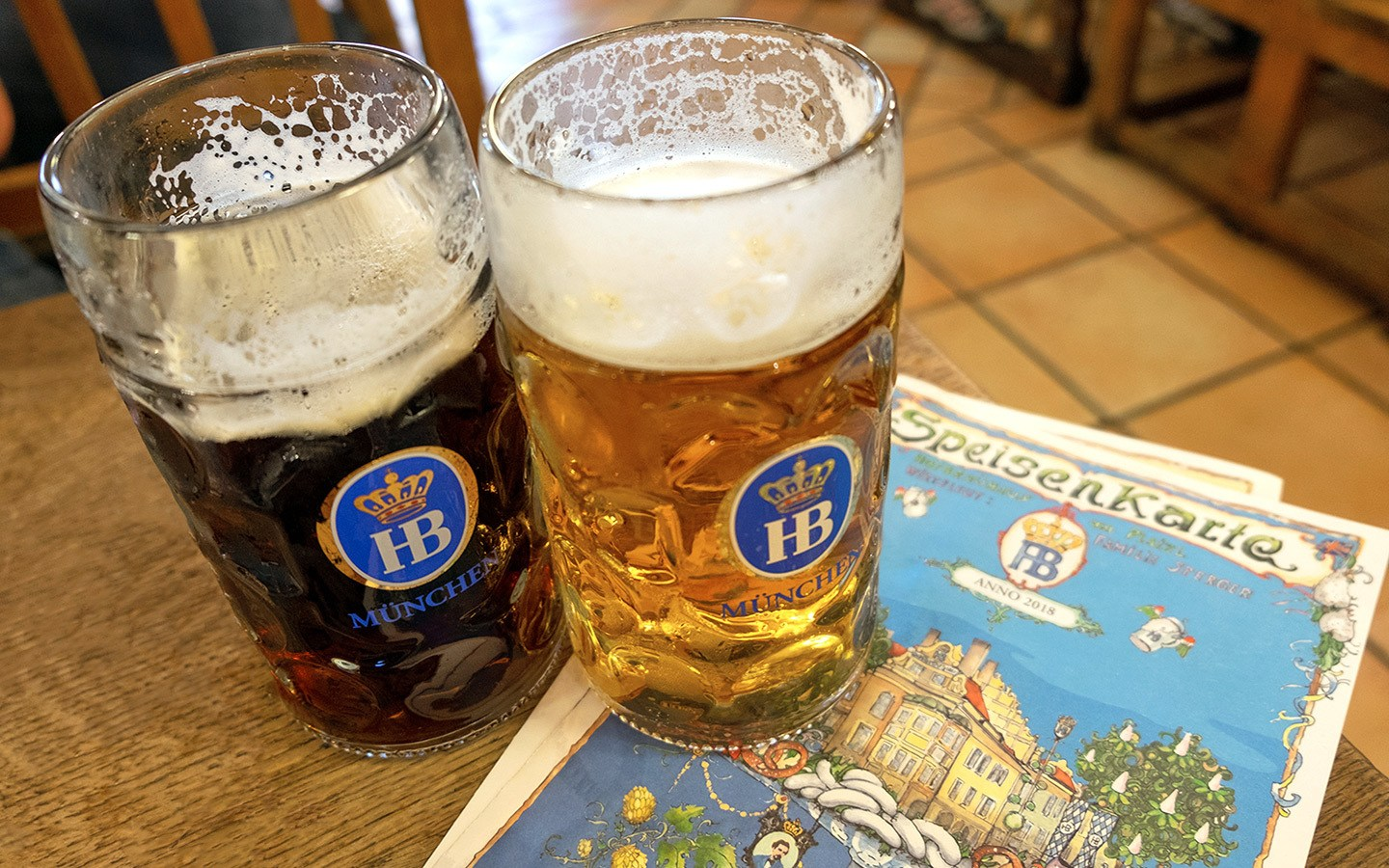 Beers in the Hofbräuhaus beer hall
