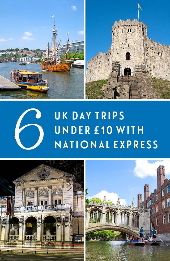 Six destinations you can visit from London on a day trip with National Express for less than £10 return, including Bristol, Bath, Cambridge, Portsmouth, Cardiff and Cheltenham #daytrip #coach #NationalExpress #budgettravel