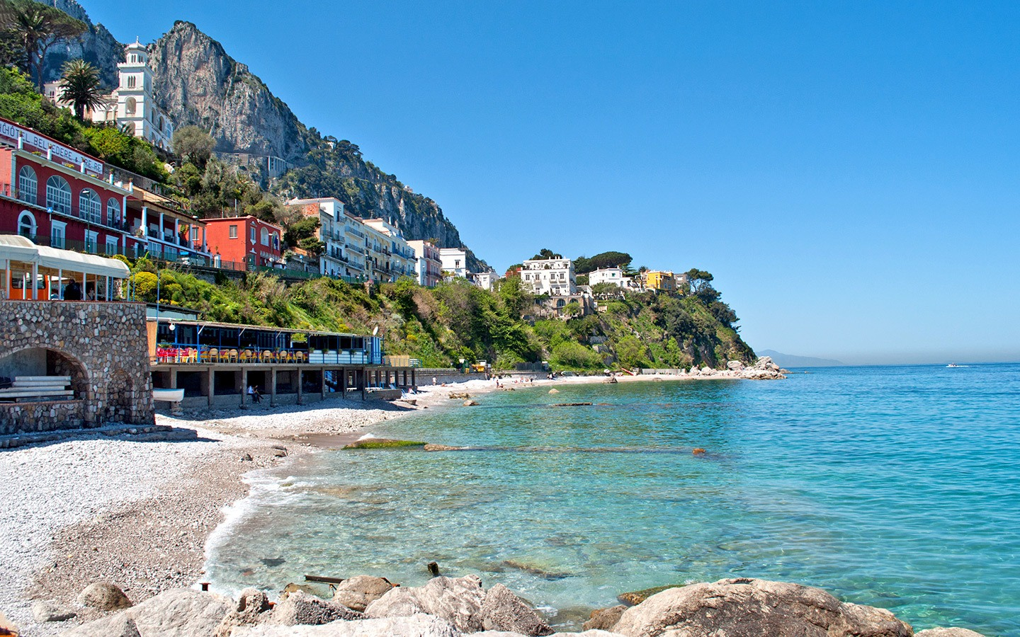 Beaches on the island of Capri, Italy