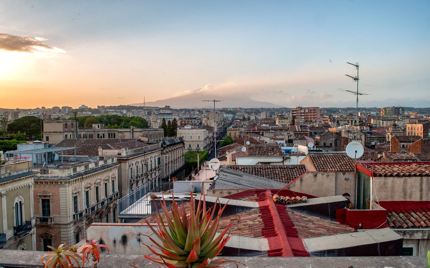 Catania and Mount Etna at sunset, Sicily