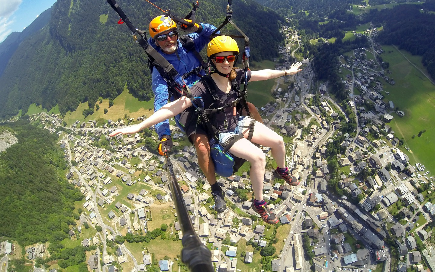 Paragliding/parapenting in Morzine in summer, French Alps
