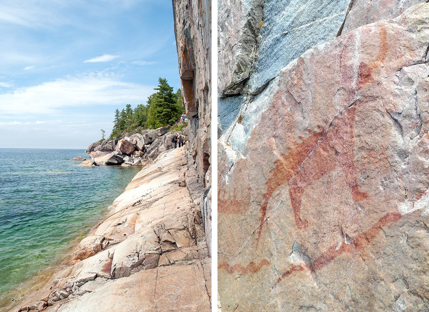 The Agawa Rock Pictographs at Lake Superior in Canada