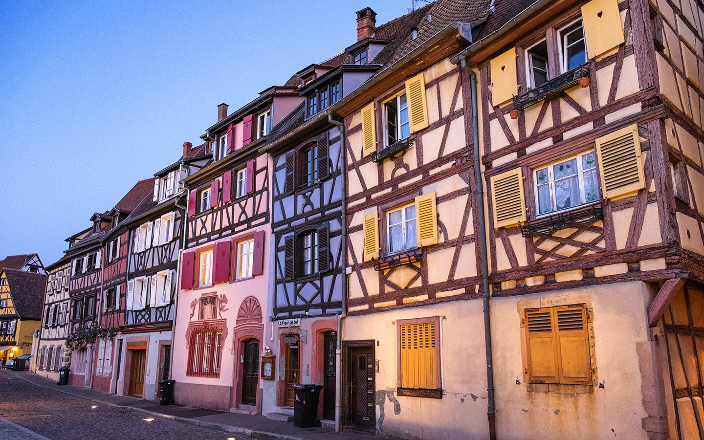 Old houses in Petit Venice, Colmar, at dusk