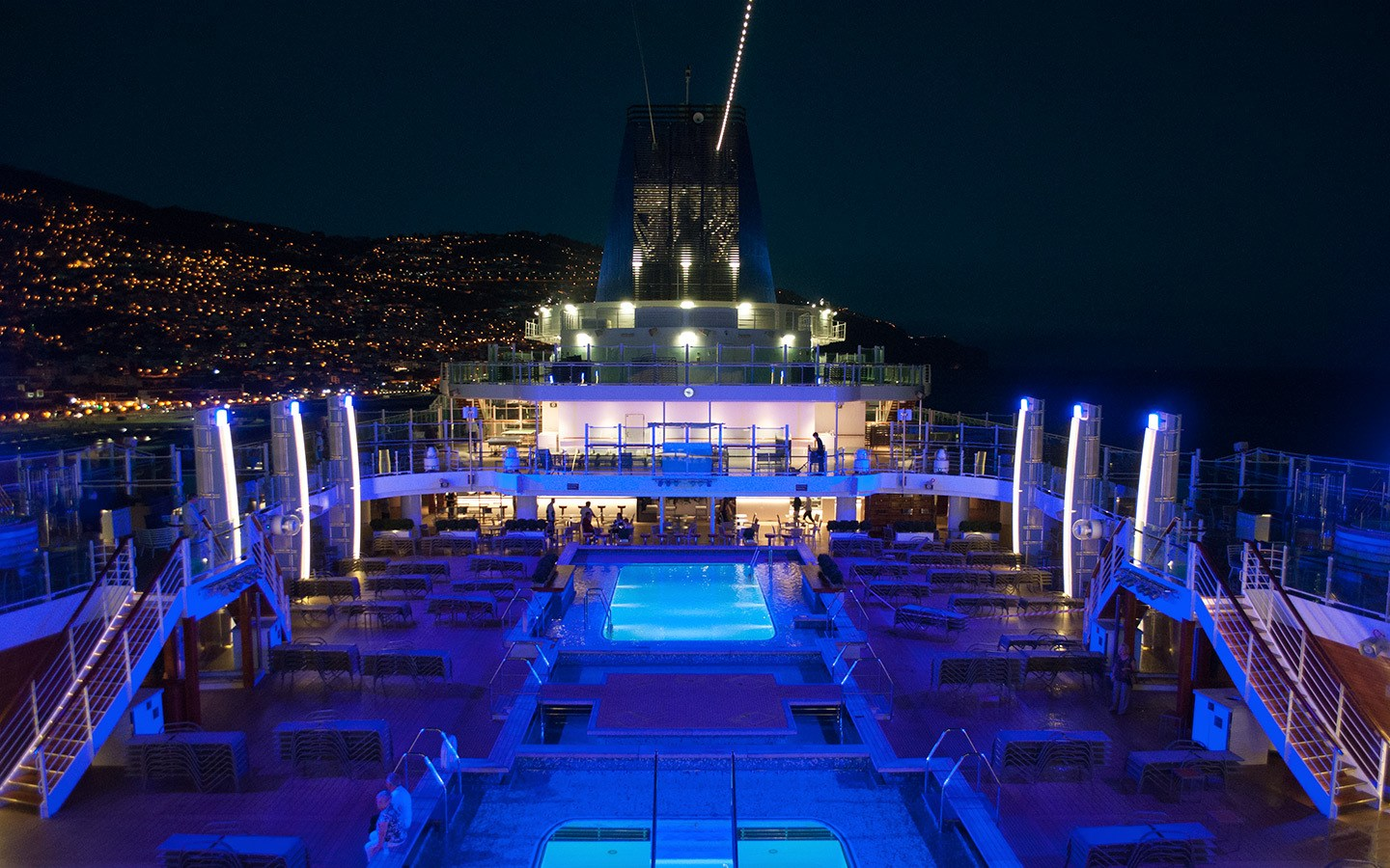 P&O cruise ship at night