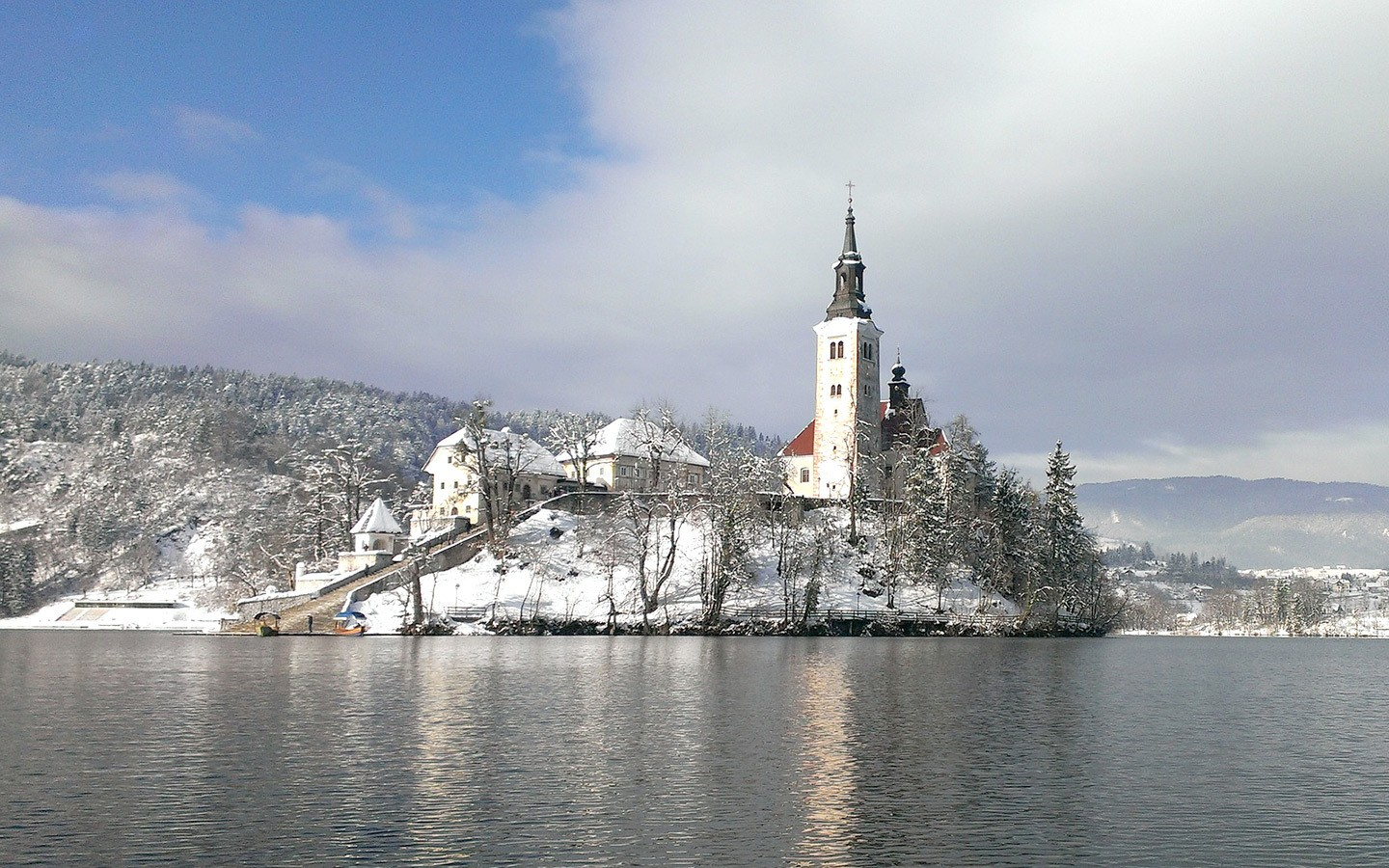 Lake Bled in the snow in winter