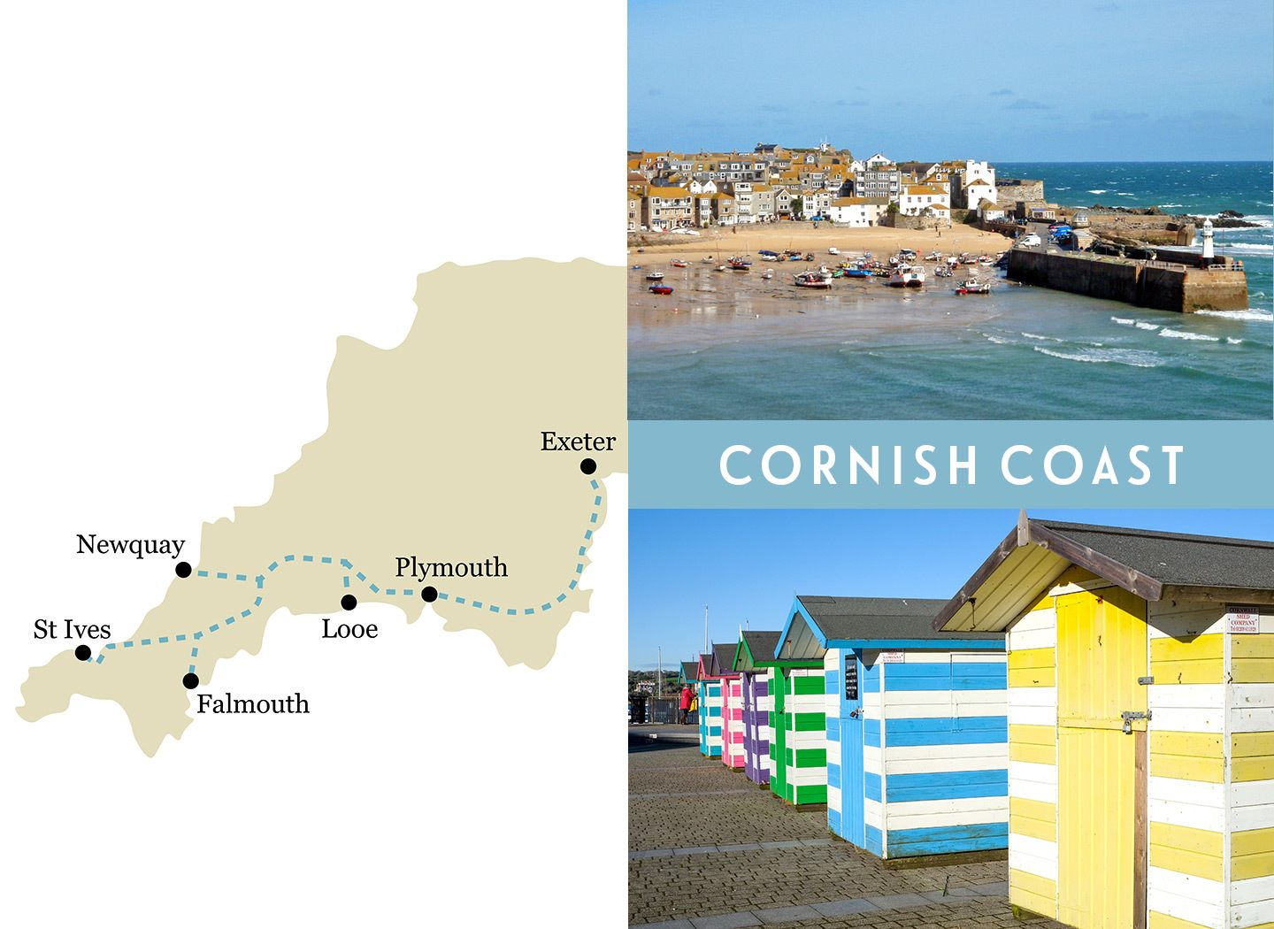 Devon and Cornwall one-week rail trip route