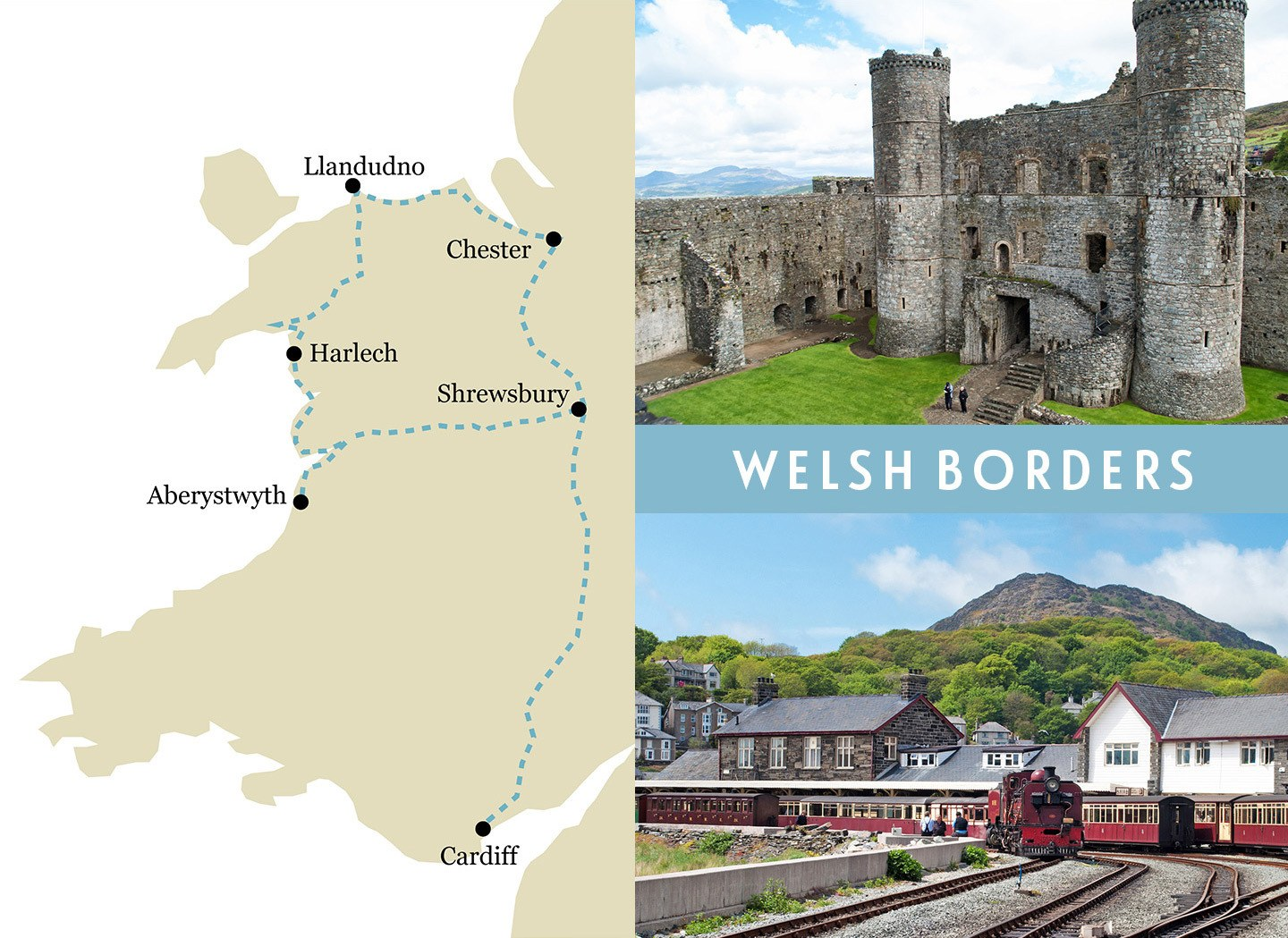 Wales one-week rail trip route