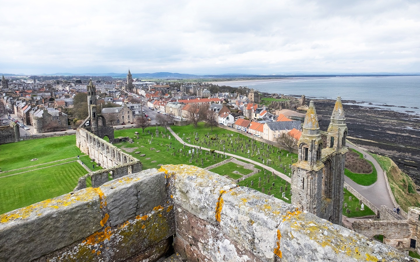 A bird's eye view from St Rules Tower, St Andrews Cathedral