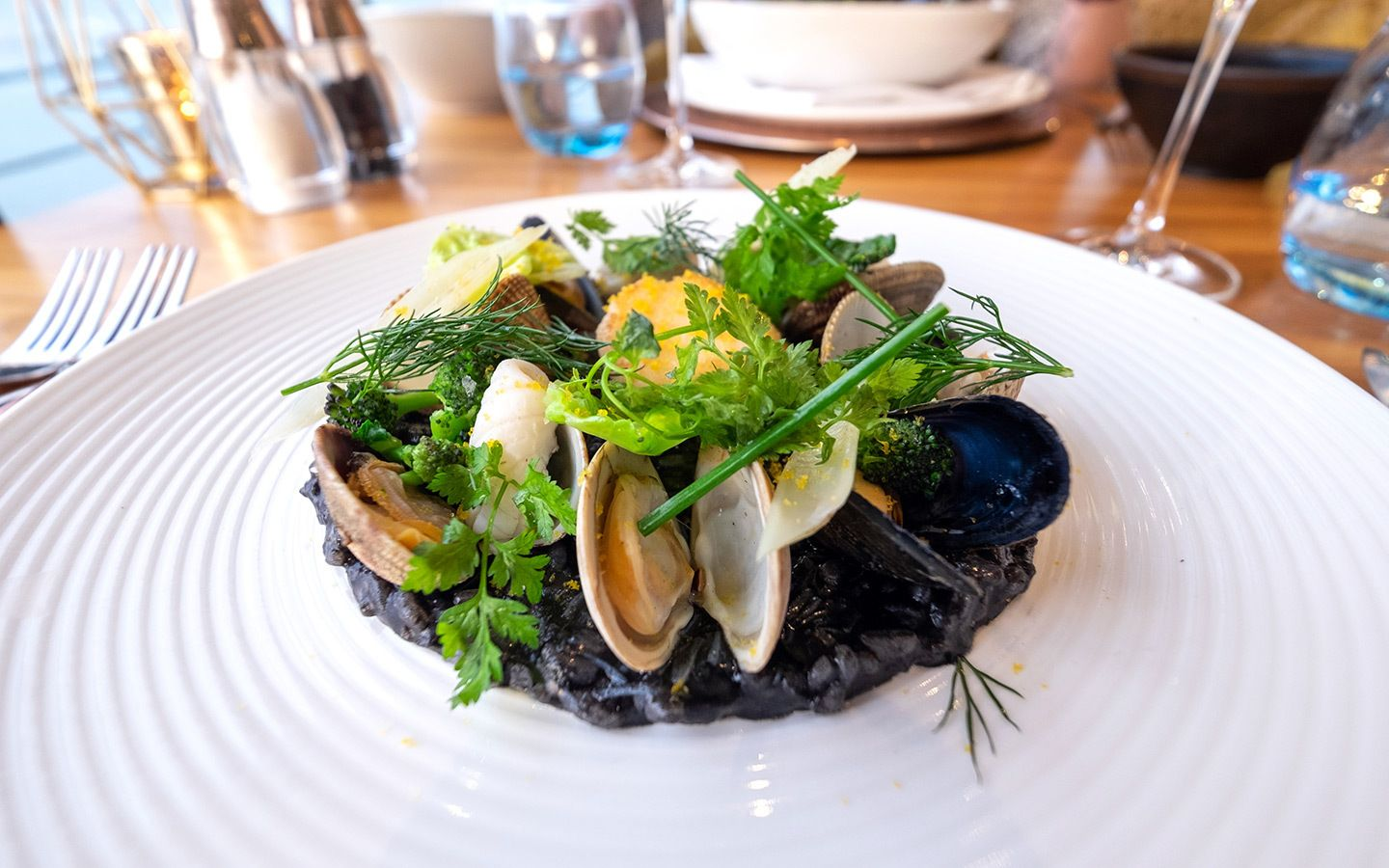 Squid ink risotto at the Seafood Ristorante