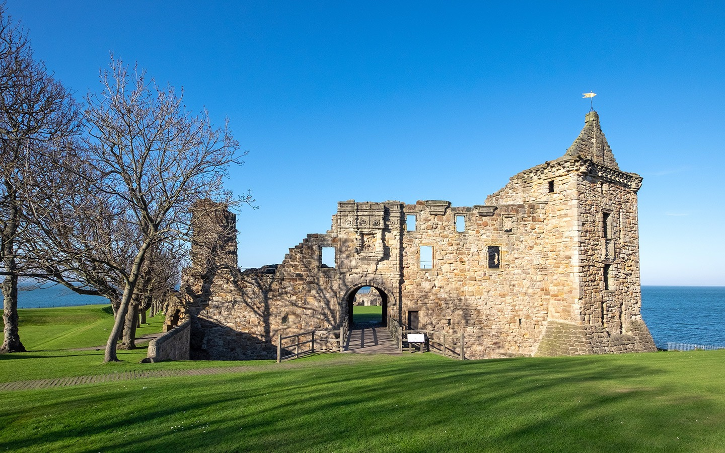 The ruins of St Andrews Castle in Scotland