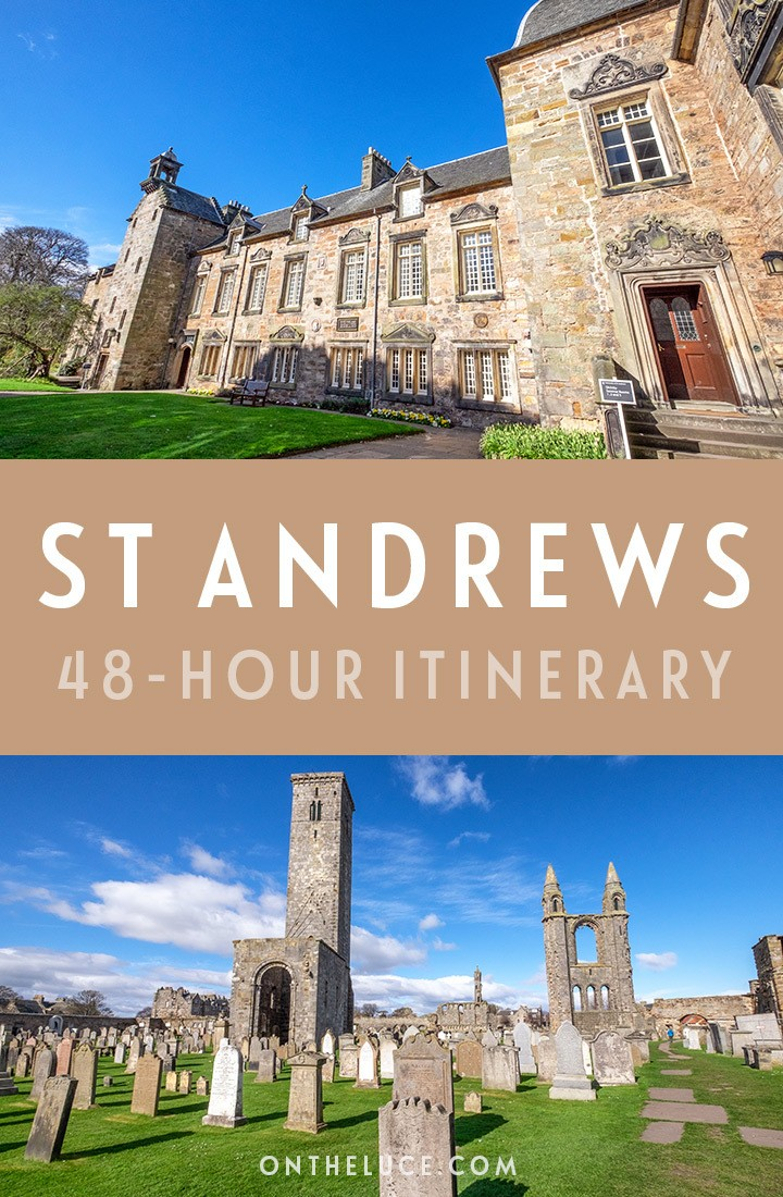 A guide to spending a weekend in St Andrews, Scotland, with tips on what to see, do, eat and drink in this a 48-hour itinerary, including the university, golf, beaches, historic buildings, restaurants and more. #Scotland #StAndrews #ScotlandisNow #UK #weekend #weekendbreak #golf