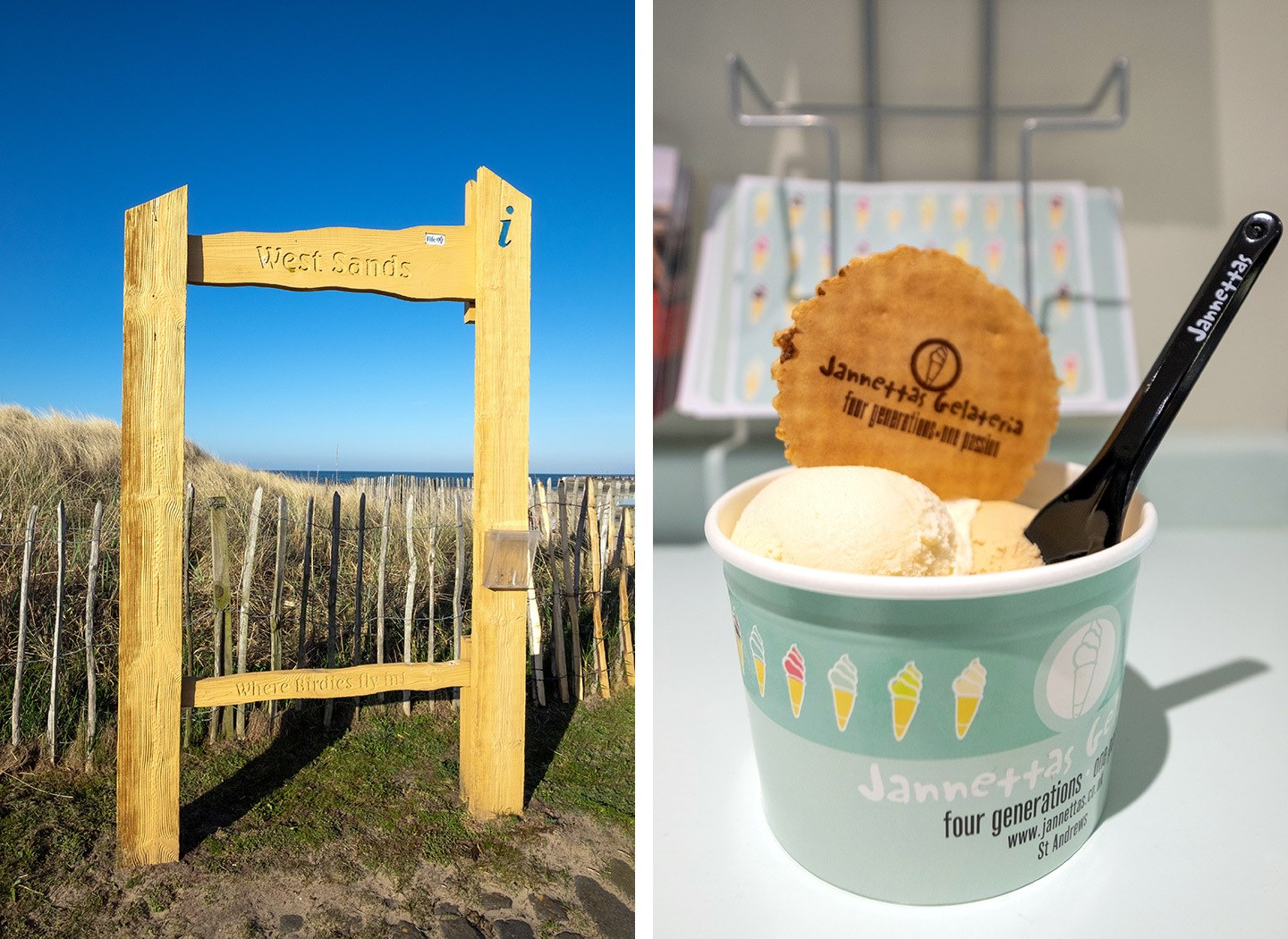 West Sands beach and ice cream at Janettas Gelateria
