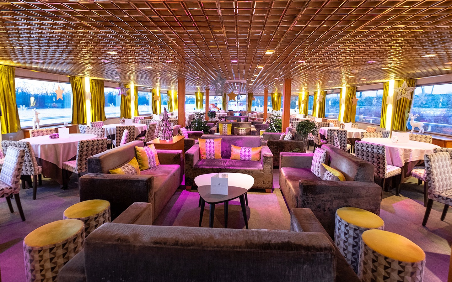 Lounge on the CroisiEurope river cruise ship MS France