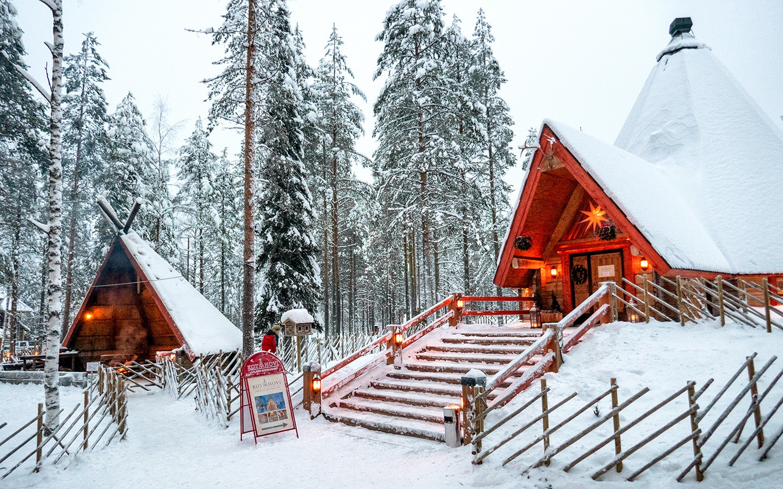 Wooden huts at Santa Claus Village Rovaniemi
