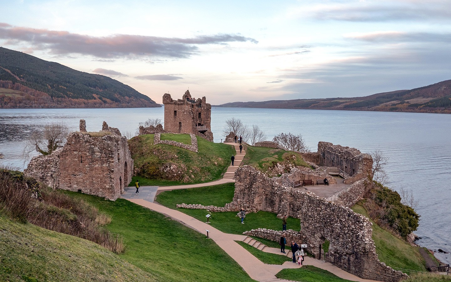 Sunset at Urquhart Castle by Loch Ness