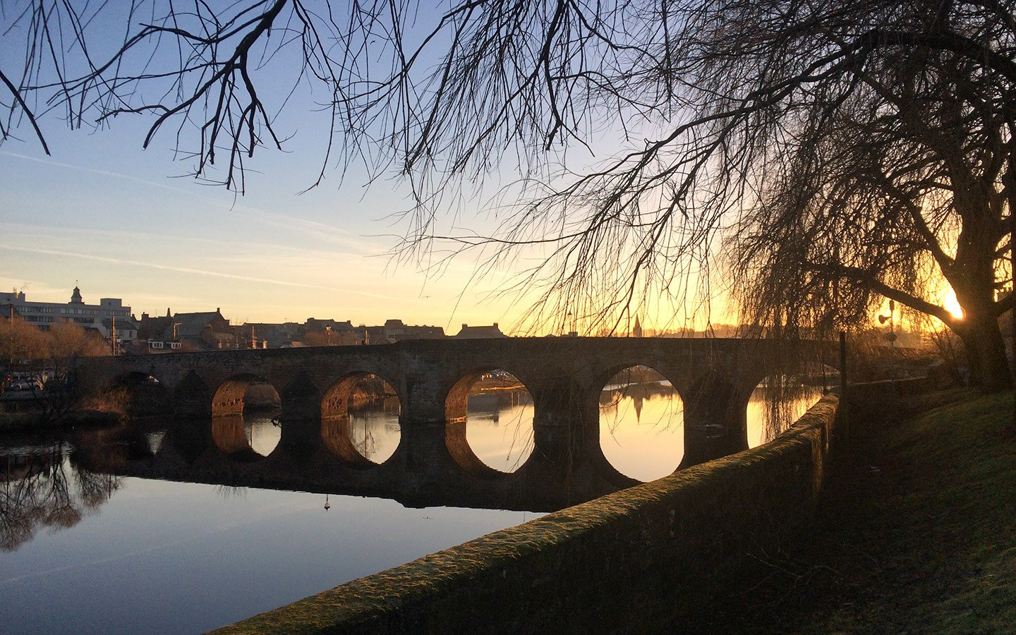 Sunset over the River Nith in Dumfries